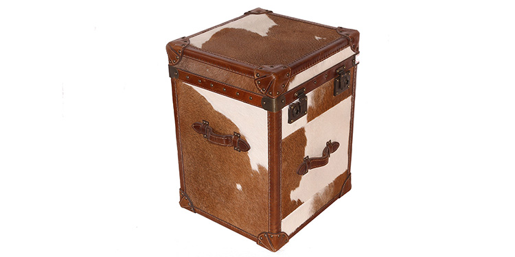 One Drawer Cowhide Side Table – 1030